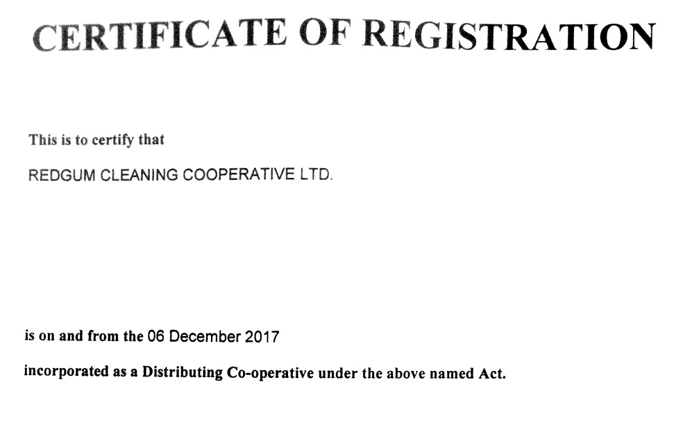 Official certificate of registration for Redgum Cleaning Co-op
